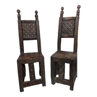 Antique African Chokwe Throne Chairs - a Pair For Sale