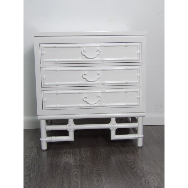 Contemporary Ficks Reed Nightstand, Three Drawer, New White Lacquer Finish For Sale - Image 3 of 7
