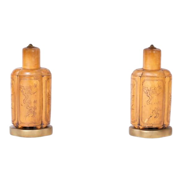 1960s Mid Century Asian Modern Faux Leather Table Lamps - a Pair For Sale