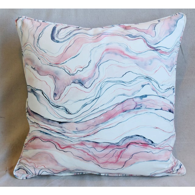 "Abstract Modern Blush-Pink Marbleized Feather/Down Pillows 22"" Square - Pair For Sale - Image 3 of 13"