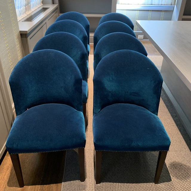 Custom made by Artistic Frame, these chairs are Spats Dining Room side chairs. Upholstered in Holly Hunt Aqua Velvet. Wood...