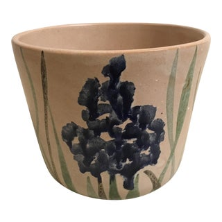 Mid-Century Slip Glaze Landscape Ceramic Pot For Sale