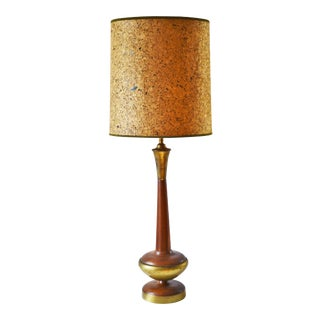 1960s Walnut and Brass Table Lamp With Vintage Cork Shade For Sale