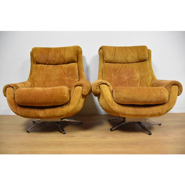 Orange Lounge Chairs & Ottomans - a Pair - Image 3 of 10
