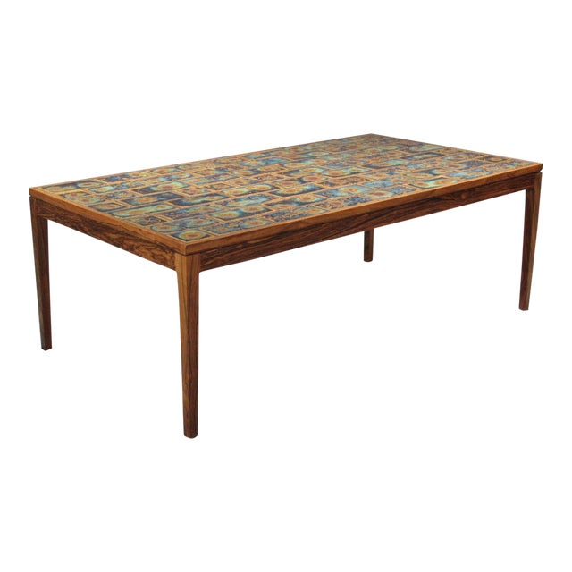 1960s Danish Modern Rosewood and Tile Coffee Table For Sale