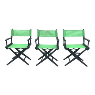 Set of Three Director Style Folding Chairs For Sale