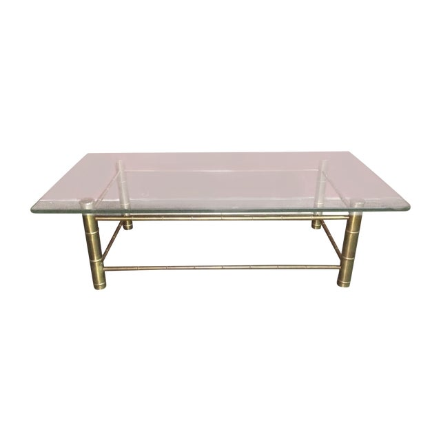 Brass Faux Bamboo Coffee Table: Vintage Brass & Glass Faux Bamboo Cocktail Table