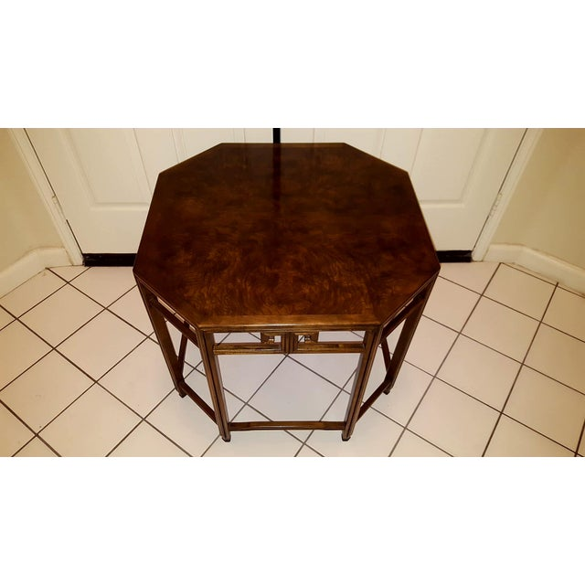 Baker Far East Collection by Michael Taylor Walnut Burl Octoganol End Table - Image 2 of 7