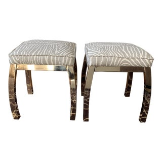 Vintage Upholstered Brass Stools Brunschwig & Fils For Sale