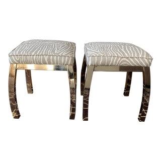 Vintage Zebra Upholstered Brass Stools Brunschwig & Fils For Sale