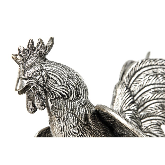 Late 19th Century Pair of English Silver Plate Roosters For Sale - Image 5 of 8
