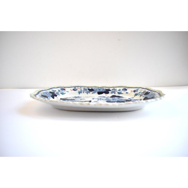 Mid Antique 19th Century Blue & White Transferware Ironstone Chinoiserie Platter For Sale - Image 4 of 9