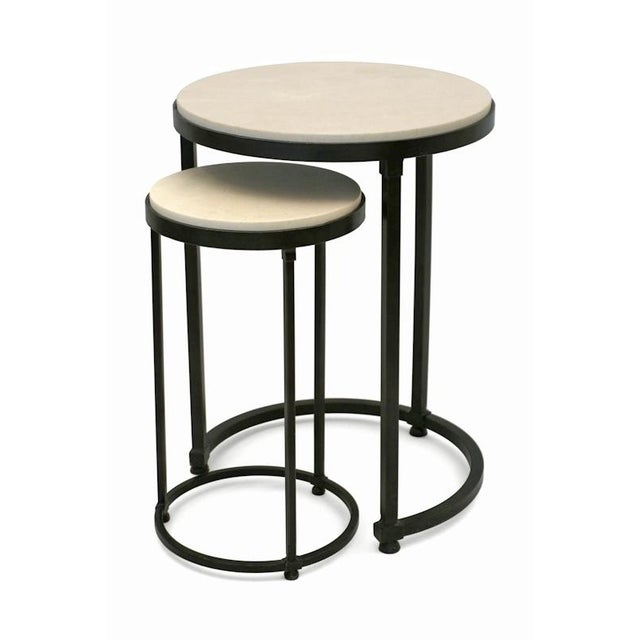 Two-piece circular iron table with inset creme marfil top with nesting drinks table. BK Limited Edition - Made to order.