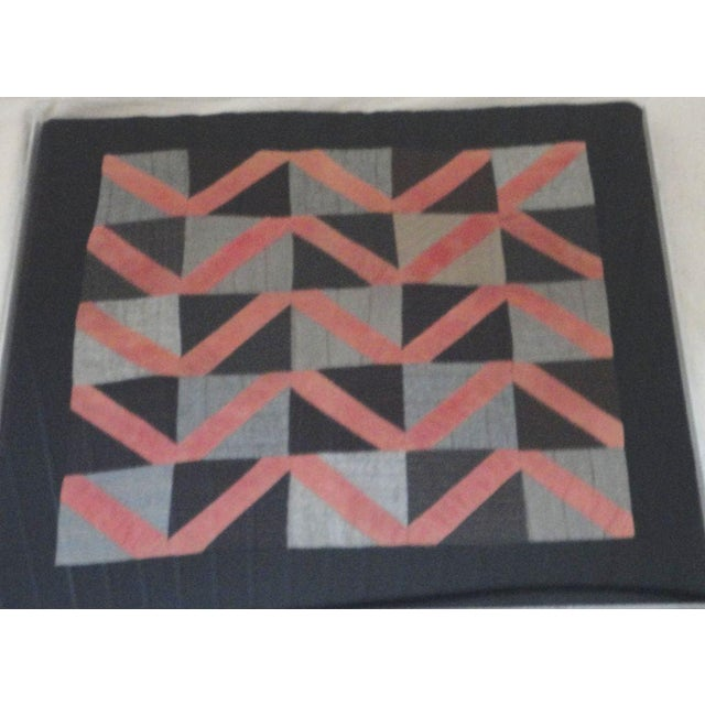 1930s Amish Wool Doll Quilt in Plexy Frame in a Zig Zag Pattern For Sale - Image 4 of 5