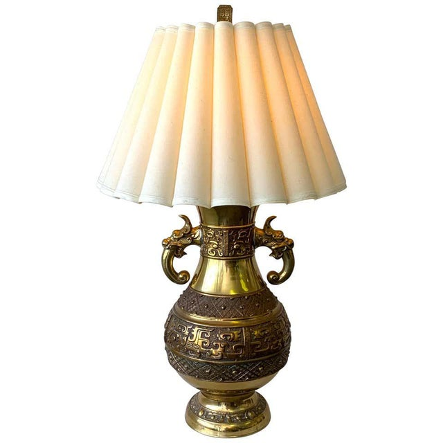 Chinese Brass Archaic Lamp, by Marbro Lamp Co. For Sale - Image 12 of 12