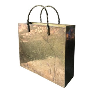 Mid Century Brass Pocketbook - Shopping Bag - Magazine Holder