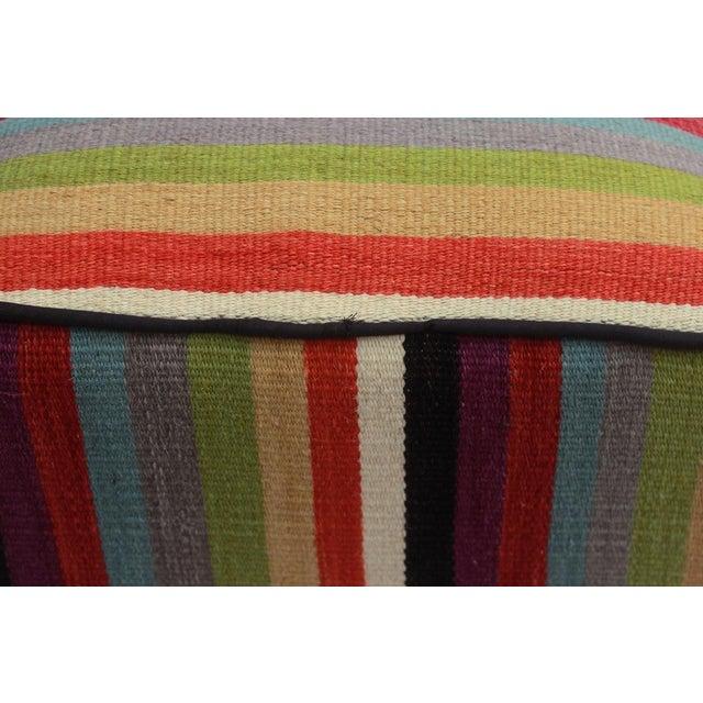 Textile Arshs Donetta Red/Ivory Kilim Upholstered Handmade Ottoman For Sale - Image 7 of 8