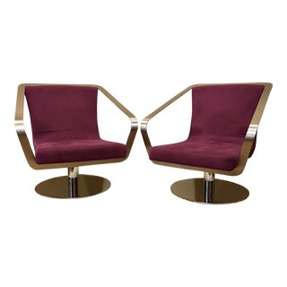 Late 20th Century Brushed Stainless Steel and Chrome Swivel Club Chairs- A Pair For Sale
