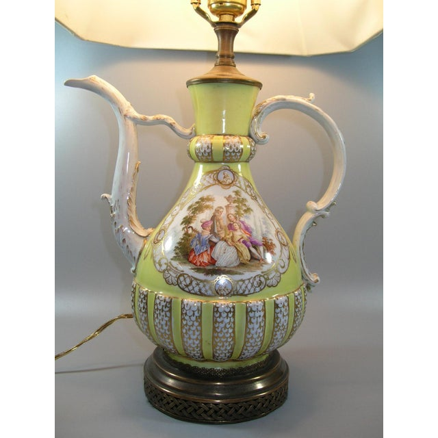 Up for sale is a rare and unusually decorated Meissen porcelain ewer/pitcher mounted as a lamp. The ewer finely painted in...