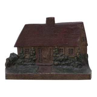 1920s Cast Iron Cottage Doorstop Shabby Chic For Sale