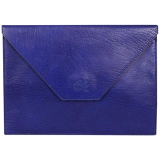 La Bagagerie, Paris Bright Blue Leather Envelope Clutch For Sale