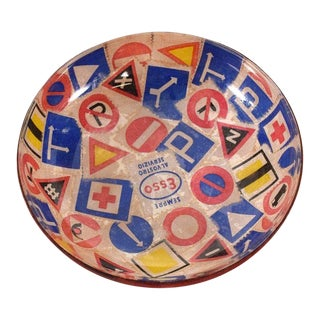 Mid-Century Modern Decorative Italian Bowl Advertising Esso For Sale