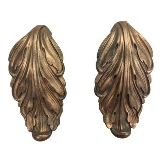 Vintage Brass Acanthus Leaf Large Door Pulls - a Pair For Sale