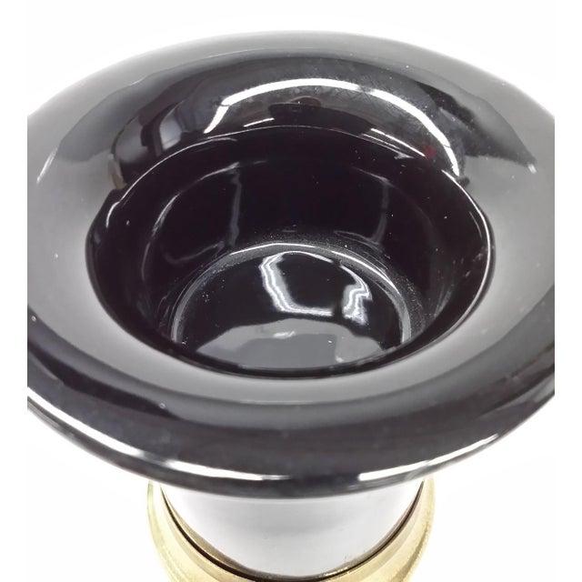 MCM Black Porcelain & Brass Candle Holder - Image 7 of 7