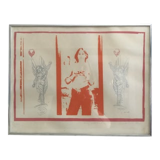"Vintage ""Self Portrait"" Multimedia Lithograph and Sketch Work by Miriam Weinstein For Sale"