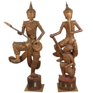 Hand-Carved Thai Temple Gilded Sculptures- a Pair For Sale