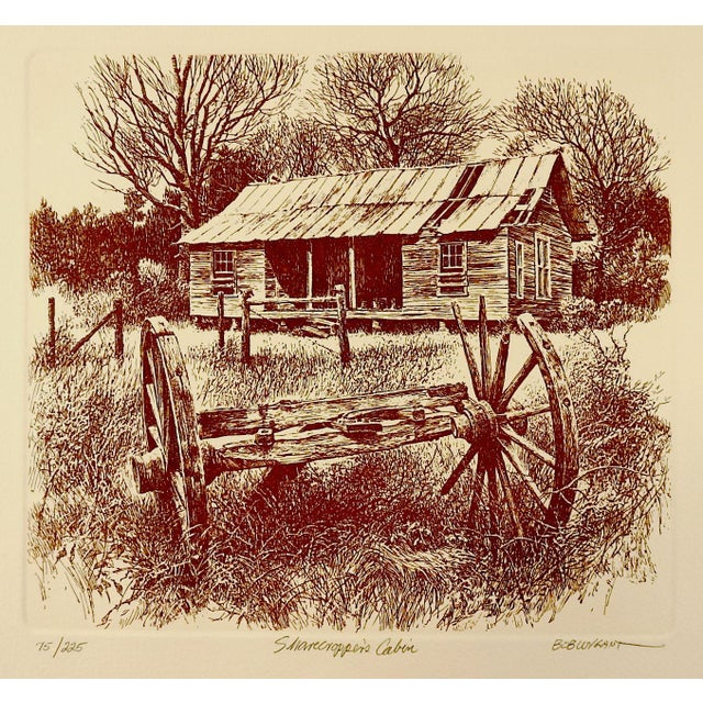 Bob Wygant Etching of Rustic Cabin For Sale - Image 4 of 4