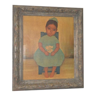 Gustavo Montoya Vintage Framed Print of a Seated Child Holding Flowers C.1950s For Sale