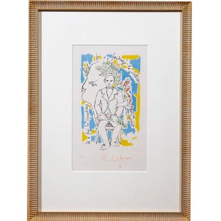 Jean Cocteau Colored Lithograph, Head of the Poet and Portrait of Arthur Rimbaud For Sale
