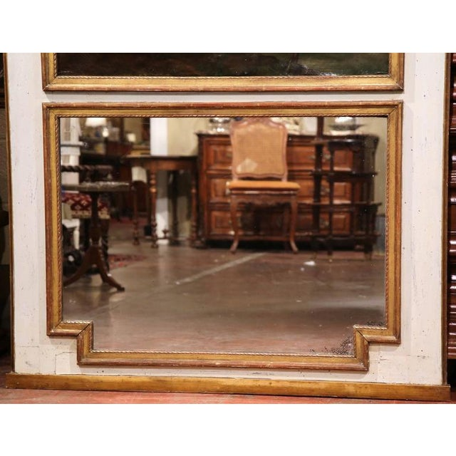Large 18th Century French Painted Trumeau Mirror From Provence For Sale In Dallas - Image 6 of 7
