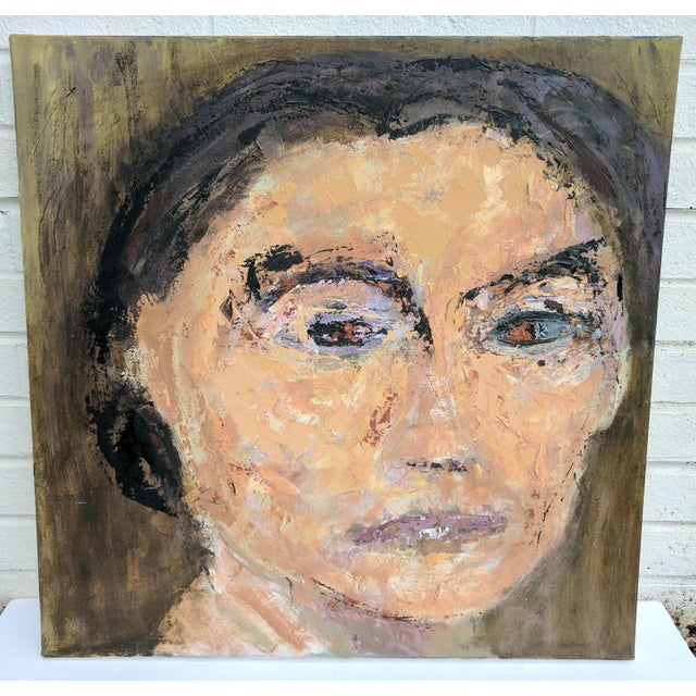 Abstract Oil Painting Portrait of a Woman on Canvas Featuring hues of dark avocodo green, peach, lilac, periwinkle, black,...