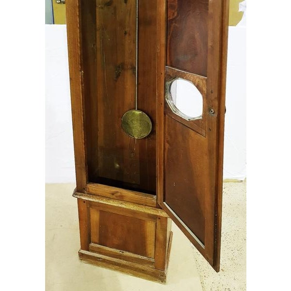 Late 19th Century 19th Century Antique French Tall Oak Clock Case and Non Working Clock For Sale - Image 5 of 12