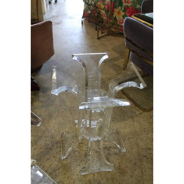 Hollywood Regency Vintage Lucite Dining Table Bases - A Pair For Sale - Image 3 of 5