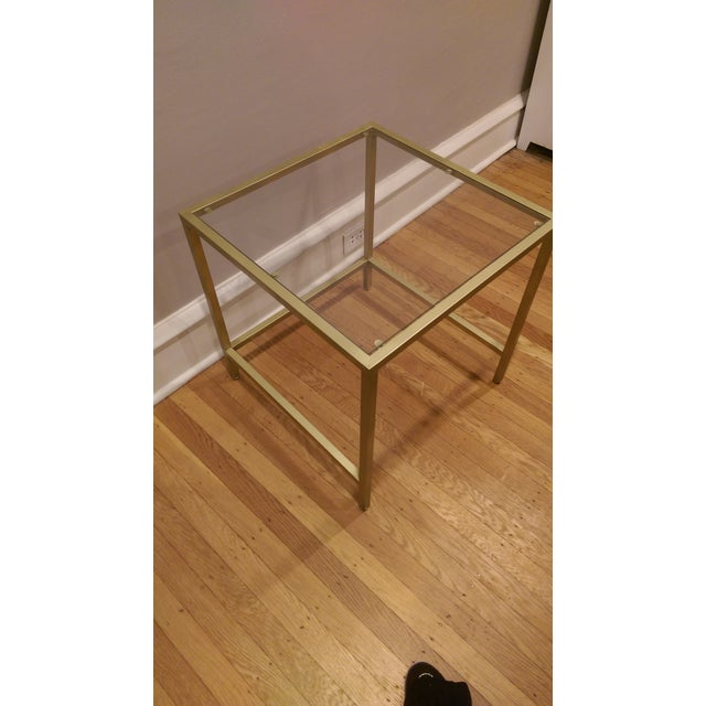 Gold Framed Side Table with Glass Top - Image 4 of 6