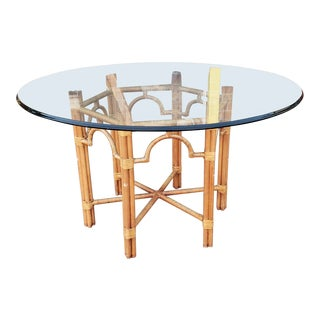 """Contemporary 54"""" Diameter Beveled Glass Top Dining Table W/ Wood and Wicker Wrapped Bamboo Metal Base 1980s For Sale"""
