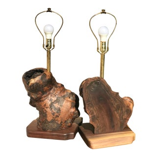 Black Walnut Burl and Brass Biomorphic Abstract Book Matched Table Lamps - a Pair For Sale