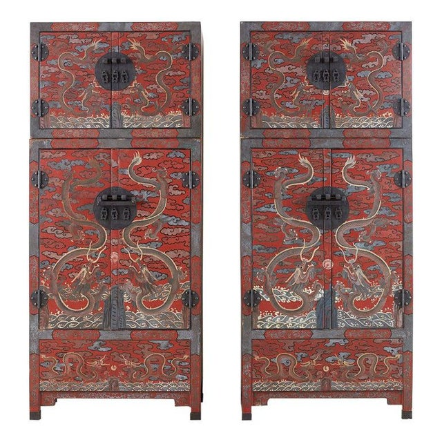 Chinese Polychrome Decorated Compound Dragon Cabinets - a Pair For Sale - Image 13 of 13