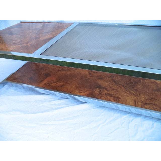 Mid-Century Chrome & Burl Coffee Table - Image 6 of 6