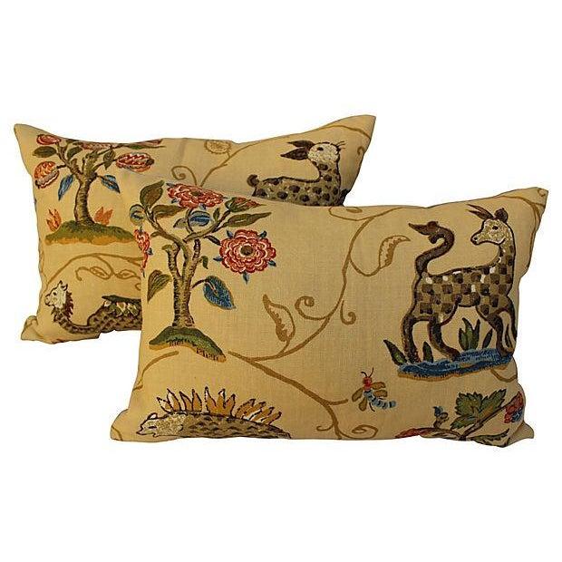 Schumacher La Menagerie Woven Pillows - Pair - Image 1 of 6