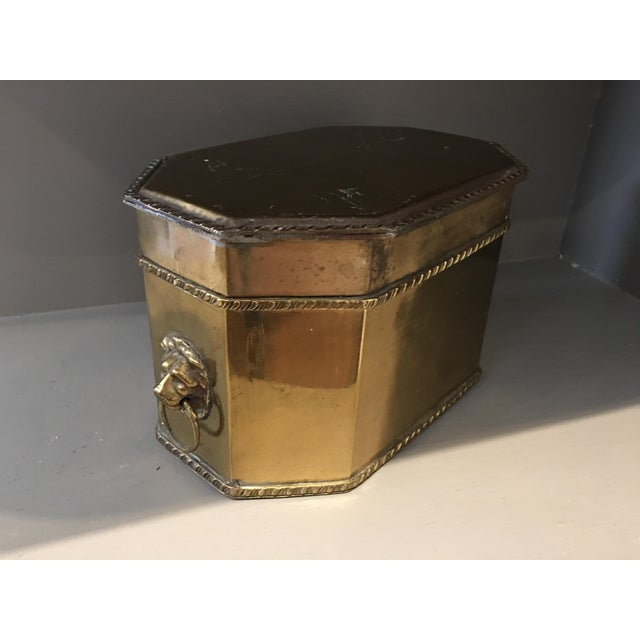 Antique Brass Lions Head Box - Image 2 of 4