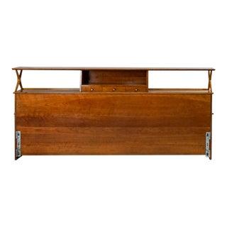 1950s Mid-Century Modern Renzo Rutili King Size Cherry Wood Headboard For Sale