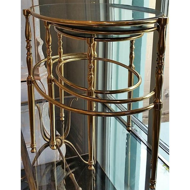 Mid 20th Century Mid Century Brass Oval Nesting Tables For Sale - Image 5 of 7