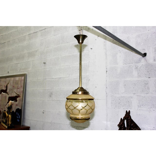Circa 1940s French Art Deco One Light Globe Chandelier Lantern - Image 11 of 11