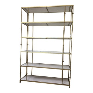 Contemporary Brass Plated Frame & Marble Shelf For Sale