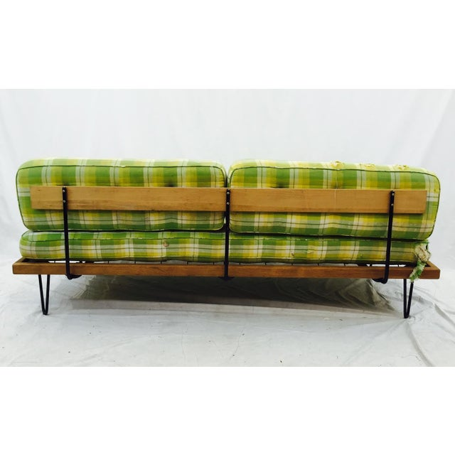 Mid-Century Madras Daybed with Metal Hairpin Legs For Sale - Image 4 of 6