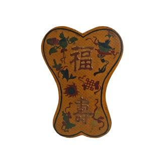 Chinese Distressed Yellow Lacquer Chinoiserie Ribbon Shape Treasure Box For Sale